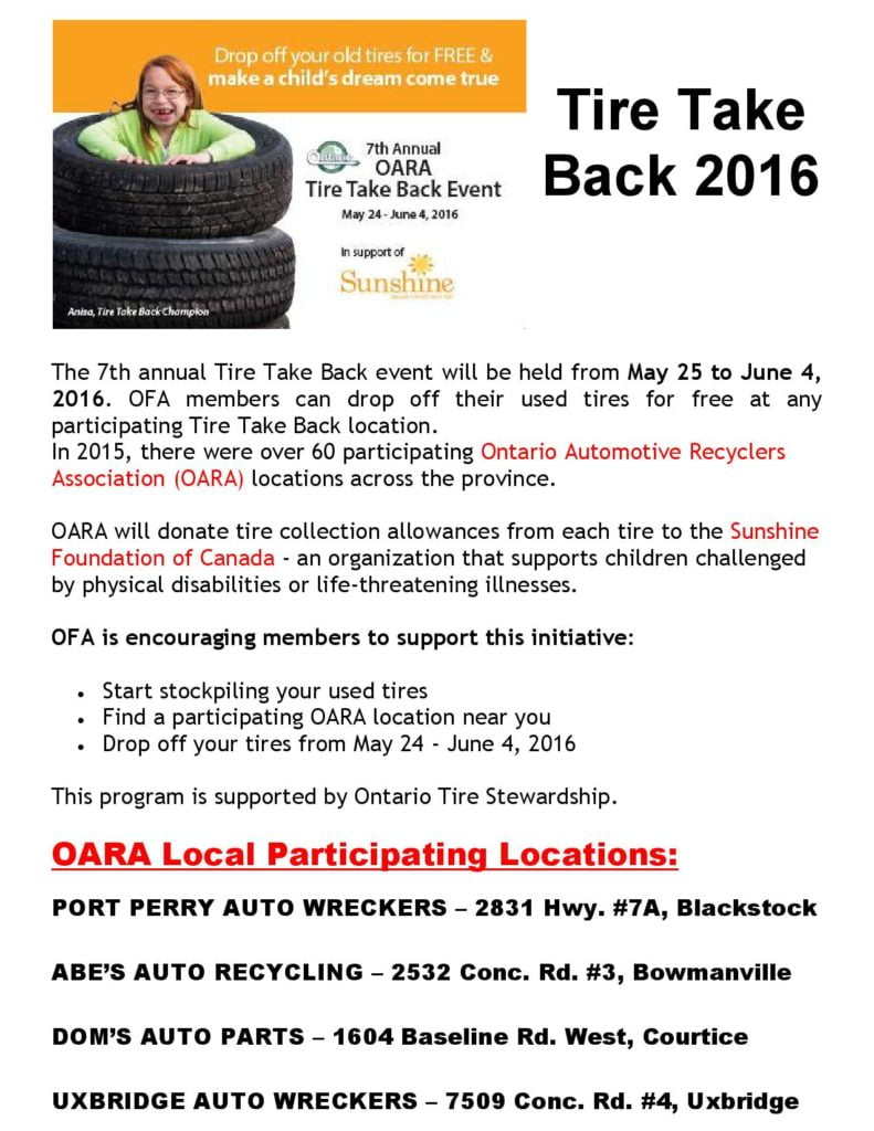 Tire Take Back 2016